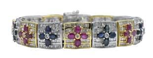 18K Gold, Diamond, Sapphire, & Ruby Bracelet