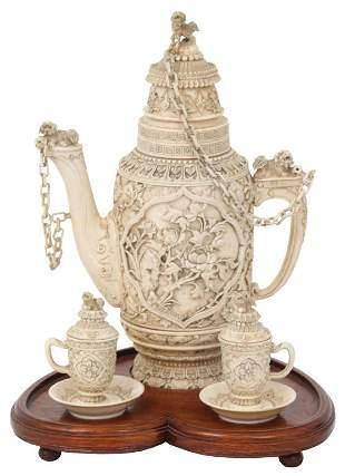 Chinese Carved Bone Tea Set