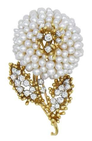 18K Yellow Gold, Pearl, & Diamond Brooch
