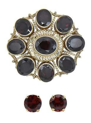 14K Yellow Gold & Red Garnet Brooch & Earrings
