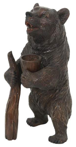 Black Forest Carved Bear Humidor