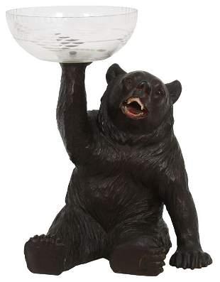 Black Forest Carved Bear Centerpiece