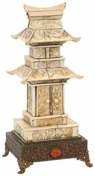 Chinese Carved Bone Pagoda