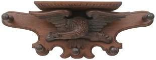 American Carved Oak Eagle Shelf