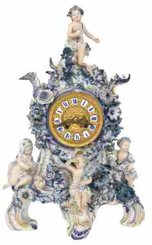 Lenzkirch/Meissen Porcelain Mantel Clock