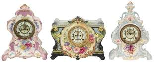 Three Ansonia Royal Bonn Porcelain Mantel Clocks