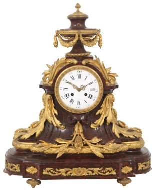 French Gilt Bronze & Marble Mantel Clock