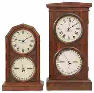 Two Seth Thomas Double Dial Calendar Clocks