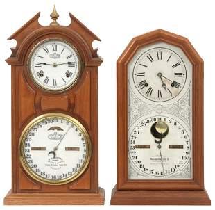 Two Ithaca Calendar Shelf Clocks