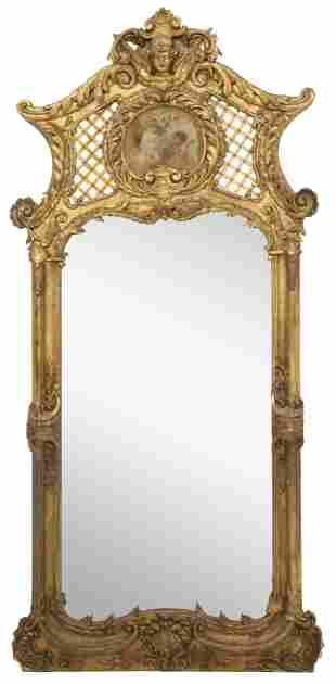 French Louis XV Style Giltwood Mirror