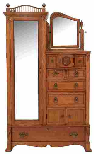 American Carved Oak Lingerie Chest with Armoire