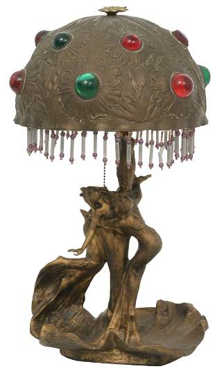 Austrian Gilt Metal & Jeweled Lamp