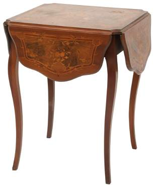 American Louis XV Style Inlaid Drop Leaf Table