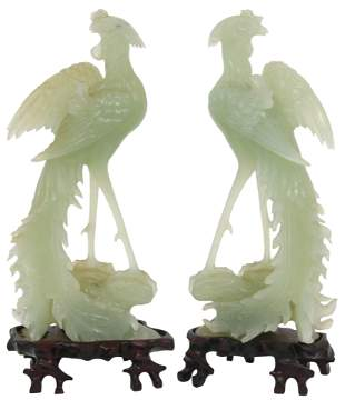 Pair of Chinese Carved Jade Birds