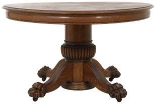 American Carved Oak Dining Table