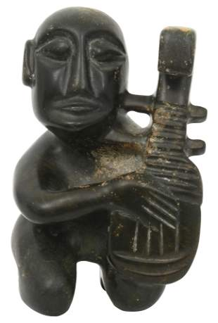 Pre-Columbian Stone Figure with Musical Instrument