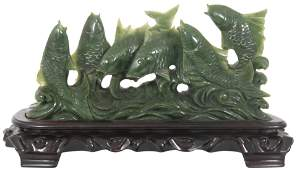 Chinese Carved Jade Grouping of Fish