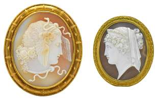 Two 10K Yellow Gold Cameo Brooches