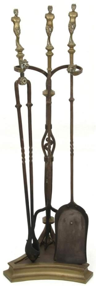 Wrought Iron & Brass Fireplace Tool Set