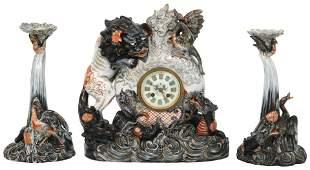 Émile Gallé Pottery Clock Garniture