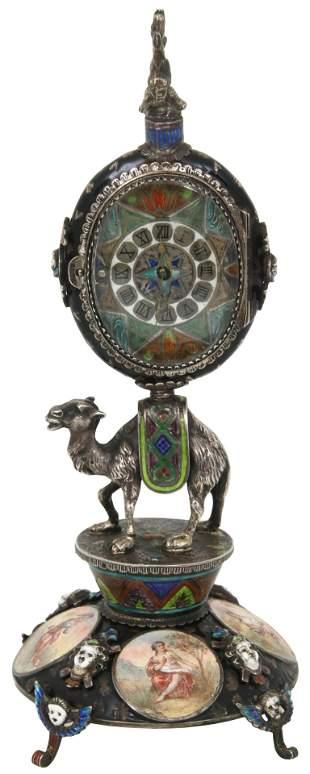 Austrian Silver & Enamel Camel-Form Cabinet Clock