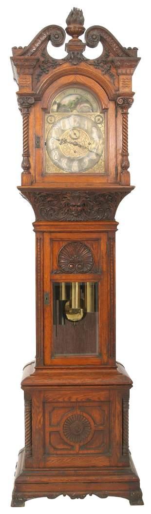 J.E. Caldwell & Co. Oak Grandfather Clock