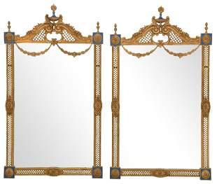 Pair of Louis XVI Style Gilt Bronze Mirrors