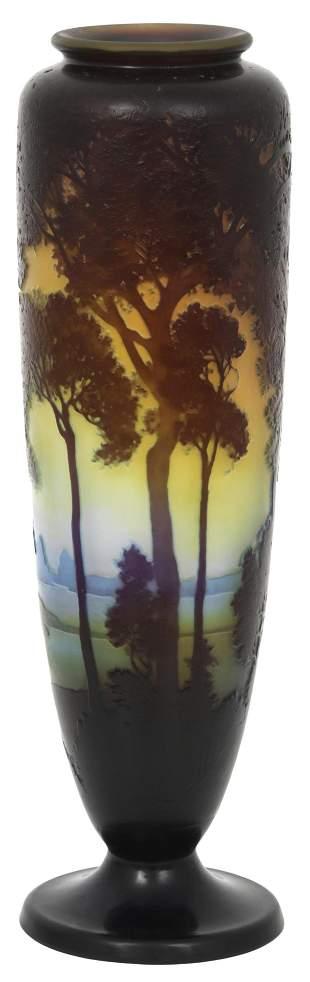 Émile Gallé Cameo Glass Scenic Vase