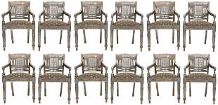 Set of 12 Federal Style Silver Plated Armchairs