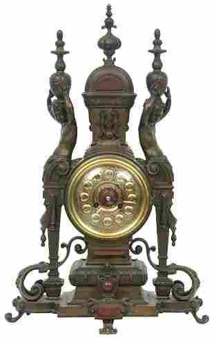 Tiffany & Co. Bronze & Rouge Marble Mantel Clock