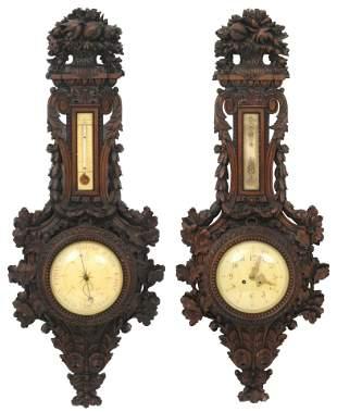 French Carved Walnut Clock & Barometer