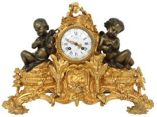 Napoleon III Gilt & Patinated Bronze Mantel Clock