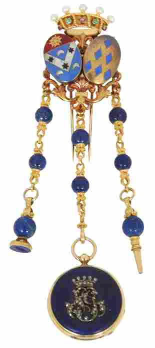 Asprey Gold & Lapis Chatelaine with Watch