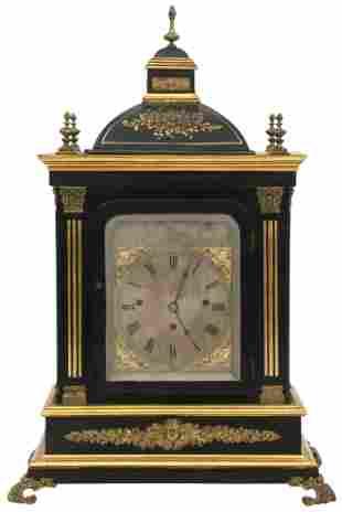 English Gilded & Ebonized Bracket Clock