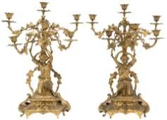 Pair of Louis XVI Style Gilt Bronze Candelabra