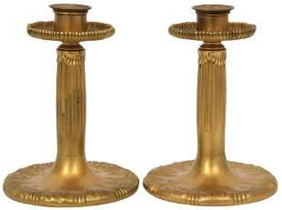 Pair of Tiffany Studios Gilt Bronze Candlesticks