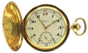 Longines 18K Gold Hunter Pocket Watch, Circa 1927