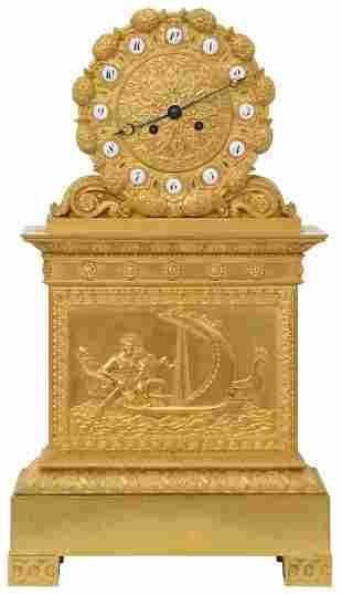 Charles X Gilt Bronze Mantel Clock