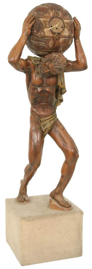 Italian Wood Carving of Atlas with Clock