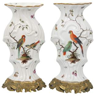 Pair of Meissen Vases with Birds