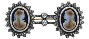14 Karat Yellow Gold & Diamond Double Cameo Brooch
