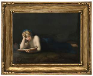 KPM Plaque of a Woman Reading