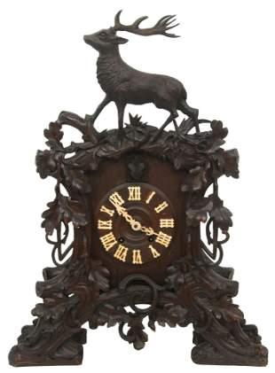 Black Forest Carved Mantel Cuckoo Clock
