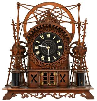 German Carved Wood Industrial Automaton Clock