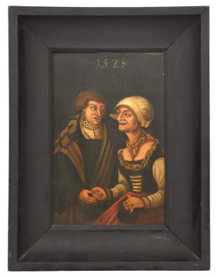 Folk Art Painting of a Man & Woman