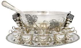 Mexican Sterling Silver Punch Bowl Set