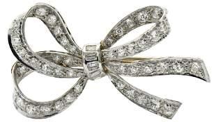 Platinum & Diamond Art Deco Bow Brooch