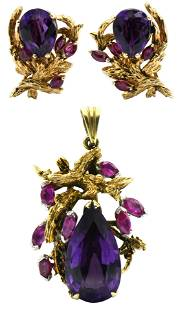 14 Karat Gold & Gemstone Pendant and Earrings