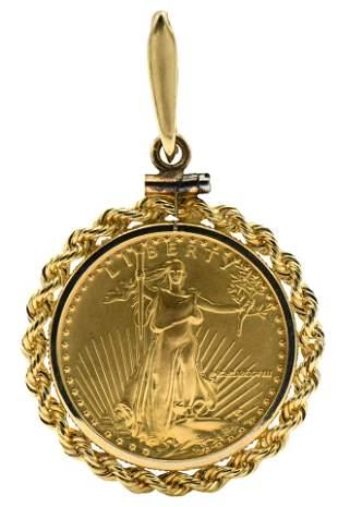 1988 American Gold Eagle Coin Pendant