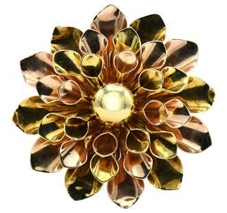 14 Karat Yellow & Rose Gold Flower Brooch